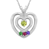 DOUBLE HEART  BIRTHSTONE NECKLACE