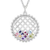 Round Caged Birthstone Necklace