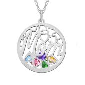 Mom Round Cage Birthstone Necklace