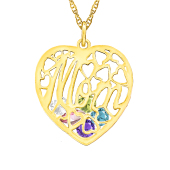 Mom Heart Cage Birthstone Necklace