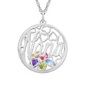 Nana  Round Cage Birthstone Necklace