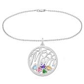 Mom Round Cage Birthstone Bracelet