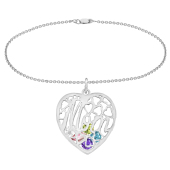 Mom Heart Cage Birthstone Bracelet