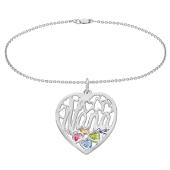 Nana Heart Cage Birthstone Bracelet