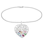 Family Tree Heart Cage Charm Bracelet