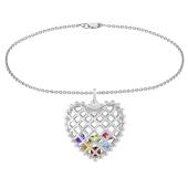 Caged Heart Birthstone Charm Bracelet