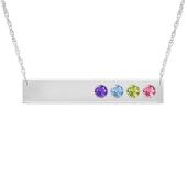 Horizontal Birthstone Bar Necklace