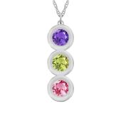 Round Bezel Vertical Birthstone Necklace