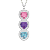 Heart Bezel Vertical Birthstone Necklace