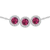 Round Birthstone Halo Slide Necklace
