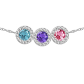 Round Birthstone Halo Slide Necklace