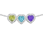 Heart Birthstone Halo Slide Necklace