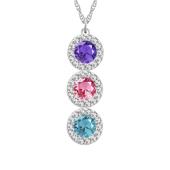 Round Birthstone Vertical Halo Necklace