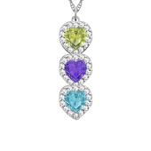 Heart Birthstone Vertical Halo Necklace