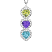 Heart Birthstone Vertical Halo Necklace