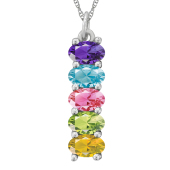 VERTICAL OVAL BIRTHSTONE NECKLACE