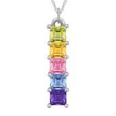 VERTICAL SQUARE BIRTHSTONE NECKLACE