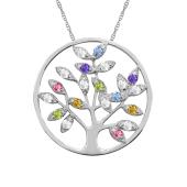 ROUND TREE OF LIFE BIRTHSTONE NECKLACE