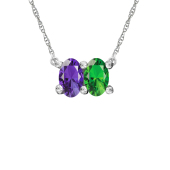 HORIZONTAL OVAL BIRTHSTONE NECKLACE