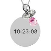ROUND TAG AND PACIFIER CHARM NECKLACE