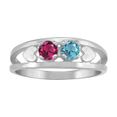 HEART EMBRACED BIRTHSTONE RING