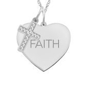 HEART TAG AND CROSS CHARM NECKLACE