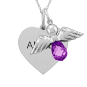 HEART TAG AND ANGEL CHARM NECKLACE