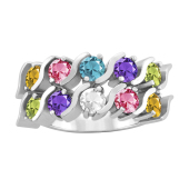 DOUBLE S ROUND PERSONALIZED RING