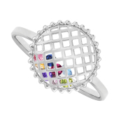 Round Caged Birthstone Ring