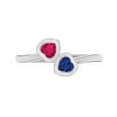 Heart Bezel Bypass Birthstone Ring