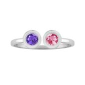 Round Bezel Two Stone Ring