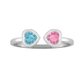 Two Hearts Bezel Ring