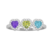 Heart Halo Birthstone Ring