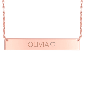 Engravable Bar Necklace with Side Heart