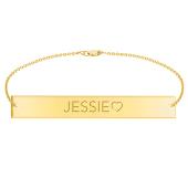 Engravable Bar Bracelet with Side Heart