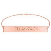 Engravable Bar Bracelet with Center Heart