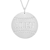 Engravable Sports Baseball Necklace